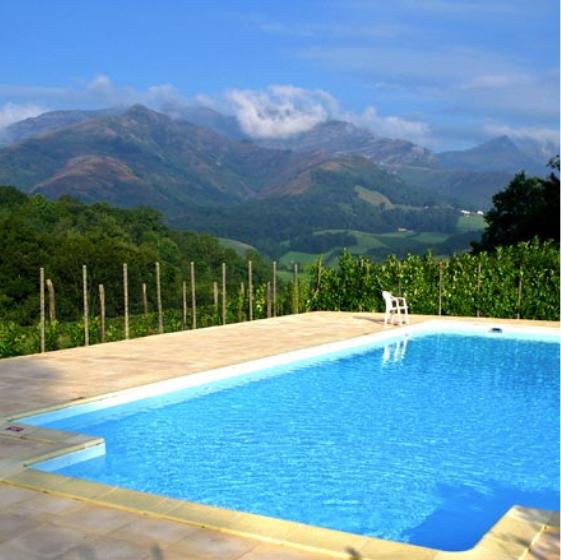 Piscine vue montagne gîte de groupe au Pays Basque - location séjour